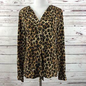 DANA BUCHMAN Leopard Print Popover Blouse SZ 6